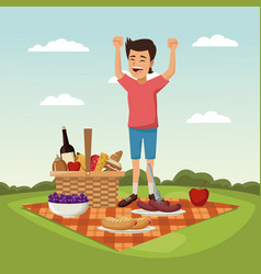 Color scene landscape of picnic basket and boy vector
