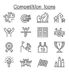 competition icon set in thin line style vector image