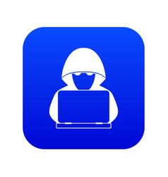 computer hacker with laptop icon digital blue vector image