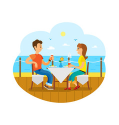 Couple having breakfast or lunch on deck near sea vector