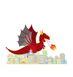 Dragon burns city red large mythical monster vector