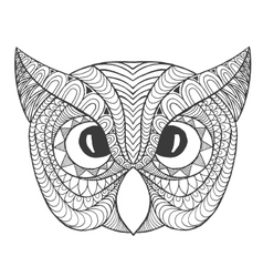 Eagle owl head Adult antistress coloring page vector image