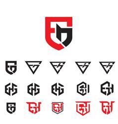 egh letter based monogram combination symbols vector image