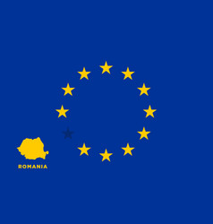 eu flag with romania country european union vector image vector image
