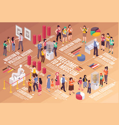 Excursion isometric infographics vector
