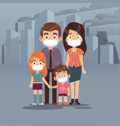 family city smog people protective face masks vector image
