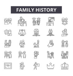 Family history line icons signs set vector