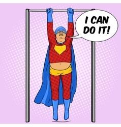 Fat superhero on horizontal bar comic vector image