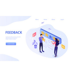 Feedback concept with star rating for excellence vector