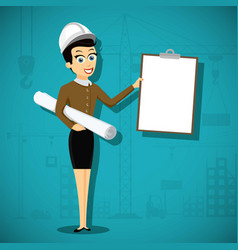 female engineer architect holding blank clipboard vector image