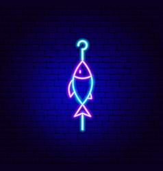 fish skewer neon sign vector image