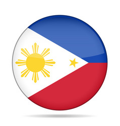 Flag of philippines shiny round button vector