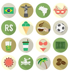 Flat Design Brazil Icons Set vector image