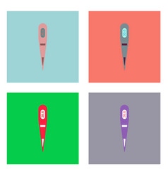 Flat icon design collection electronic thermometer vector
