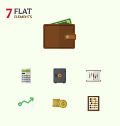 Flat icon incoming set of billfold growth vector