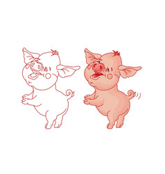 funny cartoon pig isolated on white vector image