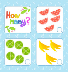 game for preschool children count as many fruits vector image