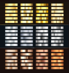 Golden silver and bronze gradient set collection vector