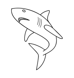 Great white shark icon in outline style isolated vector image