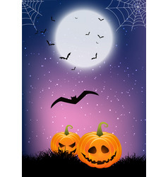 Halloween background with pumpkins and cobwebs vector