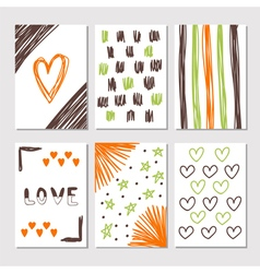 Hand drawn collection of journaling cards with vector