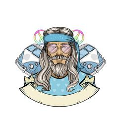 Hand drawn sketch hippie man vector
