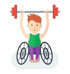 Handicapped athlete with barbell vector