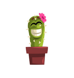 Happy smiling cactus character with pink flower vector