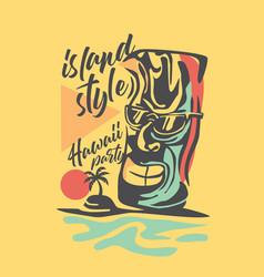 hawaii t-shirt design with tiki mask vector image
