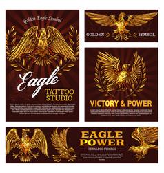 heraldic golden eagles with laurel branches vector image