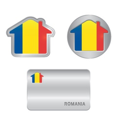 Home icon on the Romania flag vector image