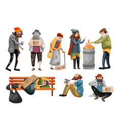 Homeless people cartoon unemployment people vector