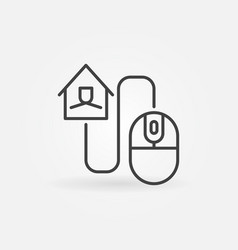 house with computer mouse linear concept vector image