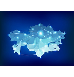 Kazakhstan country map polygonal with spot lights vector
