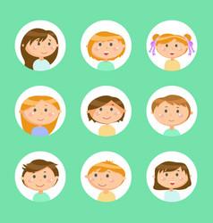 Kids in circles frames children boys and girls vector