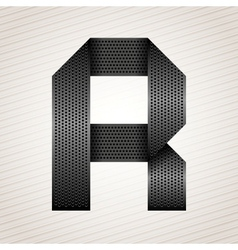 Letter metal ribbon - R vector