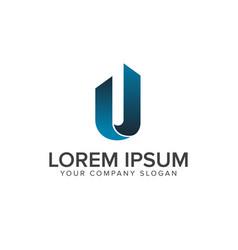 letter u logo architectural construction logo vector image
