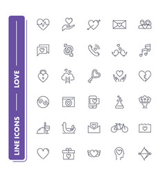 line icons set love vector image