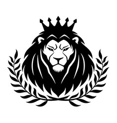 Lion in the crown and laurel wreath vector