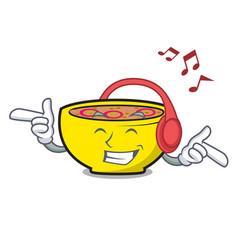 Listening music soup union mascot cartoon vector