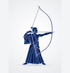 Man bowing kyudo archer sport vector