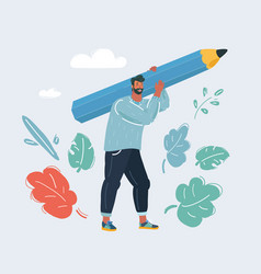 Man hold big pencil vector