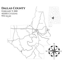 Map of dallas county in alabama vector