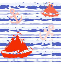 marine striped seamless pattern with ships and vector image