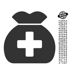 Medical fund sack icon with professional bonus vector