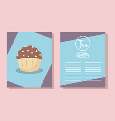 menu card with delicious cupcake vector image