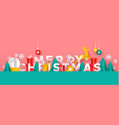 merry christmas banner paper cut toy landscape vector image