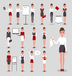 modern businesswoman at work set vector image