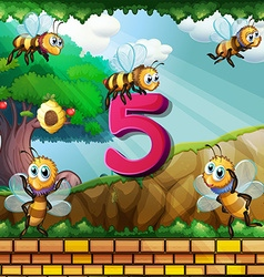 Number five with 5 bees flying in garden vector