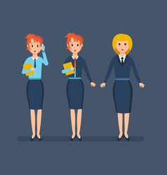 office staff work with documents talk on phone vector image